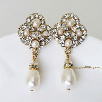 Art Deco Bridal Jewelry Crystal and Pearl Drop Earrings TRENA 628ef1818
