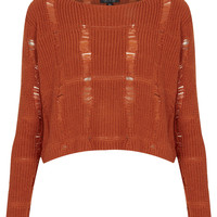 Knitted Ladder Cropped Jumper