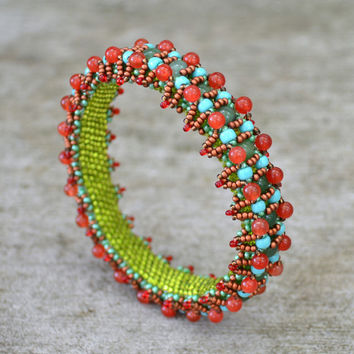 Red & Green JADE GEMSTONE Beadwoven Bangle Bracelet