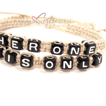 Her One His Only Bracelets, Couples Bracelets Hemp Bracelets, Gift for her , Anniversary Gift
