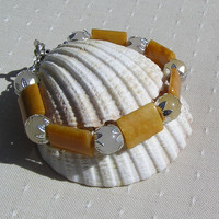 "Golden & Honey Jade Crystal Gemstone Bracelet - ""Maple"""