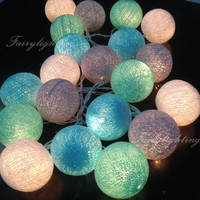 20,35 Cotton Ball Lights 4 Color Fairy String Lights Party Patio Wedding Floor Hanging Gift ,Bedroom Fairy Lighs,Blue,Green Mint,White,Gray.