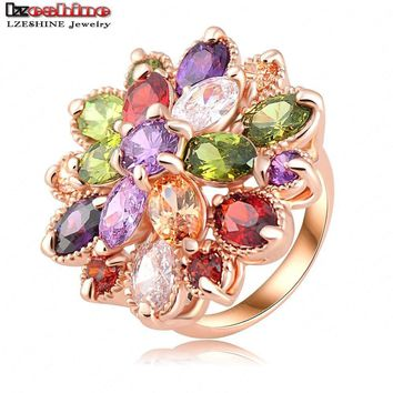 LZESHINE Unique Fashion Multicolor Flower Engagement Rings Rose Gold Color AAA Zircon Fashion Jewelry Anillos Ri-HQ0365-b