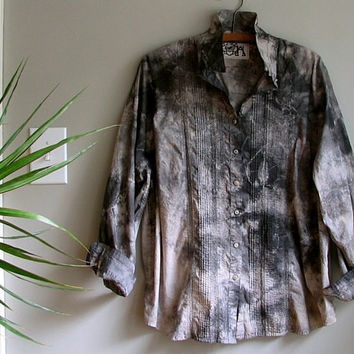 upcycled tunic blouse / grey somber shibori eco hand dyed / romantic earthy boho refashioned shabby chic eco clothing plus size x/xxlarge