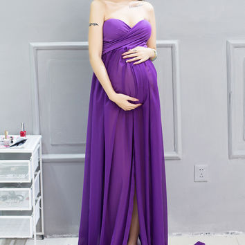 Purple Embroidery Hollow Maternity Photography Props Clothes Pregnancy Photo Shoot Gown Dresses For Pregnant Women Gift