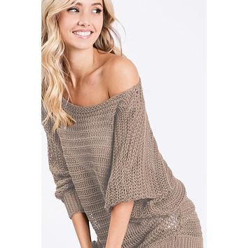 Loose Knit Lightweight Sweater - Taupe