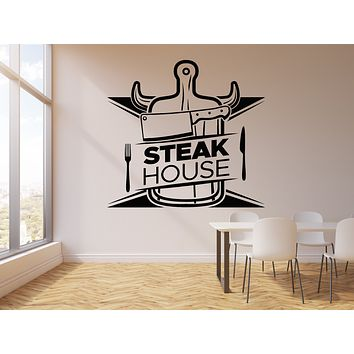 Vinyl Wall Decal Butcher Shop Steak House Beef Food Fork Knife Stickers Mural (g1673)