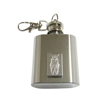 Silver Toned Etched Cicada Bug 1 Oz. Stainless Steel Key Chain Flask
