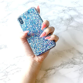 Holographic MIDNIGHT BOLT Sparkle Glitter iPhone X 8 7 6 6s Case Samsung s8 s7 Holo Reflective Iridescent Rainbow Hologram Protective Bumper