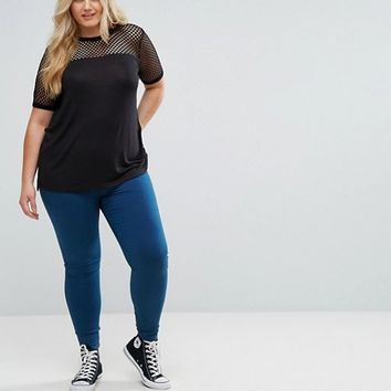 New Look Plus Fishnet Yoke Knit Top at asos.com