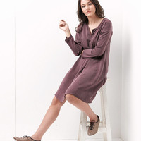 Mini Dress /Women Dress / Knee Dress / Purple Dress / Women Tunic / cocktail Dress / Womens Dress / Long Sleeves Dress / Loose Dress