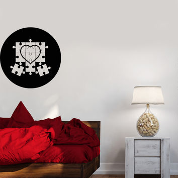 Wall Decal Puzzle Heart Circle Image Love Soul Feelings Vinyl Sticker Unique Gift (ed650)