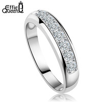 Luxury Platinum Plated Women Wedding Band with Heart and Arrow Cut Clear Zircon Fashion Ring for Women DR24
