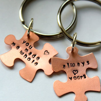 Puzzle Piece Personalized Keychain Valentines by whiteliliedesigns