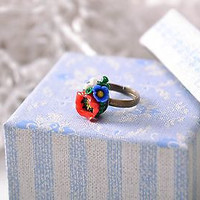 Handmade floral Ring with flowers made of polymer clay bijouterie for women