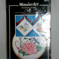 Kitten Potholder Embroidery Kit 2 Prestamped Potholders to Embroider by Wonder Art Caron Cross Stitch Kitten Cat Hot Pad Kit Kitchen Decor