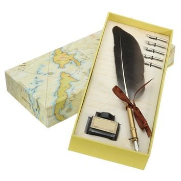 New Black Antique Quill Feather Dip Pen Writing Ink Set Stationery Gift Box with 5 Nib Wedding Gift Quill Pen Fountain Pen