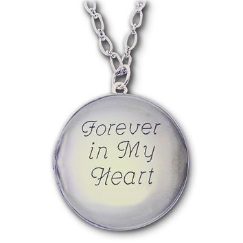 Silver Locket (No Chain) with Custom Engraving - Insert or Replace Your own Photos (We will print  & place the initial 2 photos)