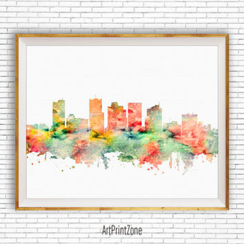 Phoenix Arizona, Phoenix Art, Phoenix Skyline, Phoenix Print, Office Decor, City Skyline Prints, Skyline Art, Office Wall Art, ArtPrintZone