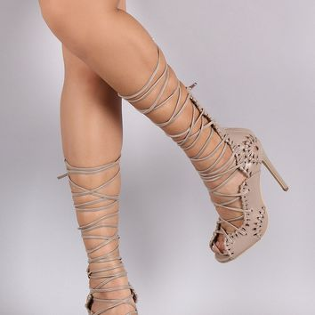e477d92bb028 Privileged Intricate Cutout Corset Lace-Up Peep Toe Stiletto Hee