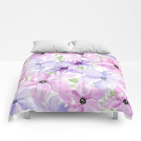 clematis vines Comforters by Sylvia Cook Photography