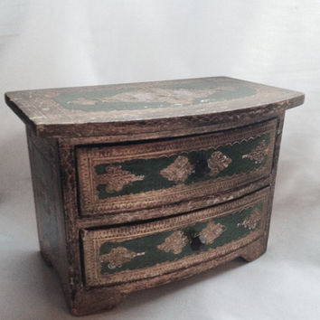 Vintage Italian Gold & Green Jewelry Box