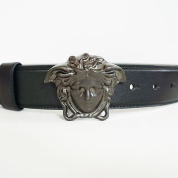 NWT Authentic VERSACE Iconic MEDUSA HEAD Black Leather Belt 80-32 NEW ARRIVAL
