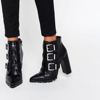 ASOS ENZA Multi Buckle Pointed Ankle Boots