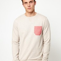 Sweatshirt With Pink Oxford Pocket