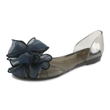 Autumn Flats Crystal Jelly Summer Shoes Sweet Bow