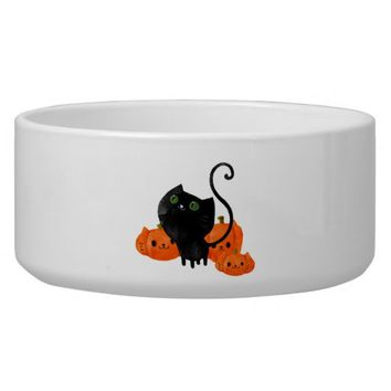Halloween Cat with Pumpkins Dog Bowl from Zazzle.com