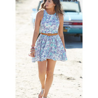Wild Hibiscus Split Racerback Dress