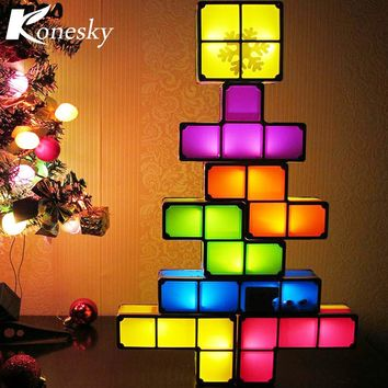 DIY Tetris Constructible Night Light Desk Lamp Creative Constructible Retro Game Style Three-dimensional Stackable LED Light