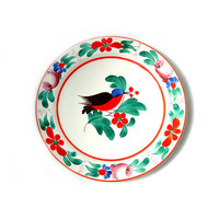 Vintage Hand Painted Bird Decorative Plate , Old Hand Painted Plate, Country decor, Hand Painted Bird and Flower Plate.