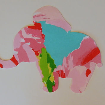 New made To Order Elephant silhouette Pillow made with Lilly Pulitzer Hotty Pink First Impression fabric