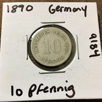 1890 German Empire 10 Pfennig Coin 9184