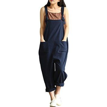 Women Large Plus Size Baggy Linen Overalls