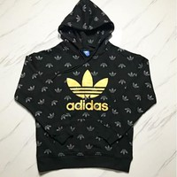 Adidas New fashion bust golden leaf letter print and more leaf print hooded long sleeve sweater Black