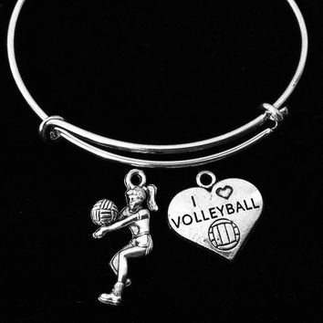 I Love Volleyball Girl Adjustable Bracelet Silver Wire Bangle Sports Team Gift Volleyball Player Team Sports Gift Coach