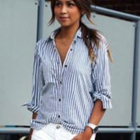 Blue Long Sleeve Stripes Chic Blouse