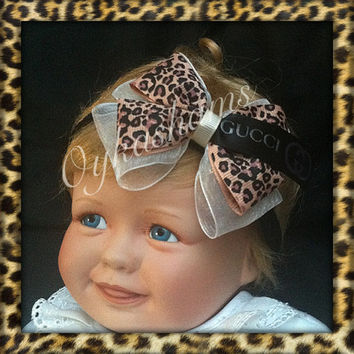 Baby Girls Luxury leopard ribbon organza double bow Gucci designer ribbon headband / custom made sizes available