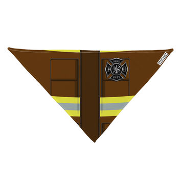 "Firefighter Brown AOP Dog Bandana 26"" All Over Print"