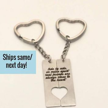 Long Distance Friendship, Long Distance Relationship, Friendship Keychain, Long Distance Keychain, Engraved Keychain, Custom Keychain