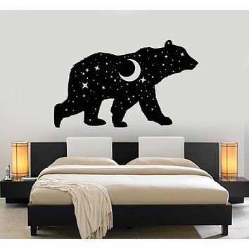 Vinyl Wall Decal Bear Animal Night Sky Moon Stars Bedroom Stickers Mural (g2642)