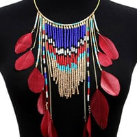 Red Feather Bohemia Tassel Necklace