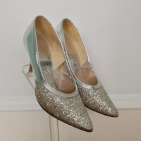 1950s Silver Glitter Shoes / Pumps / Silver Shiny Heels   / Size 7.5 M