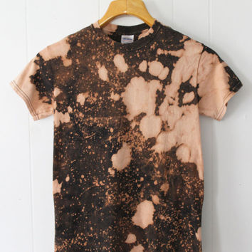 Bleach Sprayed and Dyed Splatter Galaxy Pattern on Black Tee Shirt Size Small