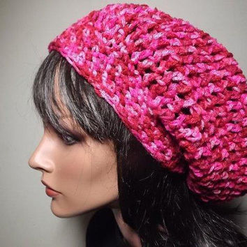 Hand Crochet Slouch Beanie- Hair Cozy Casual Womens Hat- Red Pink Magenta Multicolor Beret Valentines Day