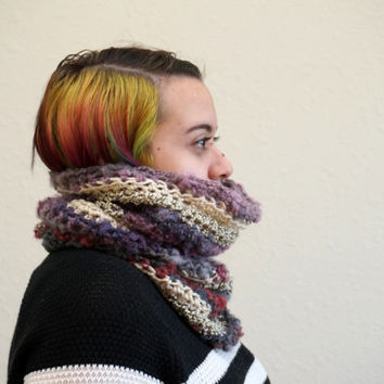 colorful cowl, multicolor scarf, wool cowl, striped cowl, crochet scarf, multimedia art, multicolor cowl / THE GYPSY / Ready to Ship!