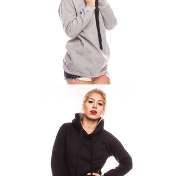 OLIVE SIDE ZIPPER ACCENT HOODIE THICK DRAWSTRING LOOK SWEATER
